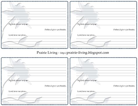 Prairie Living Prayer Card Prayer Card Template Free