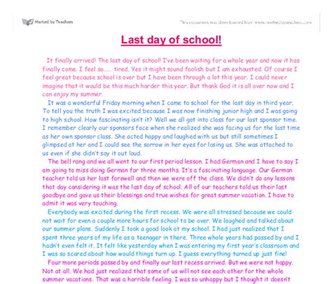 Day Of School Essay by Last Day Of School Gcse Marked By Teachers