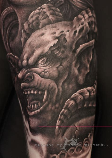 black and grey ink demon tattoo design tattooshunt com