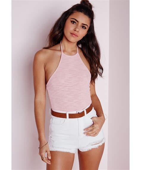 Ribbed Top lyst missguided ribbed halterneck top baby pink in pink