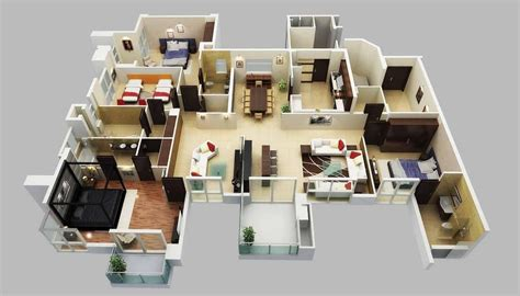 Home Design 3d Gold Ideas | 50 four 4 bedroom apartment house plans bedroom