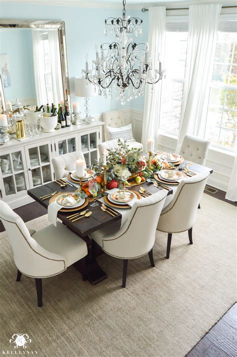 Dining Room Candle Chandelier a traditional thanksgiving table with pottery barn