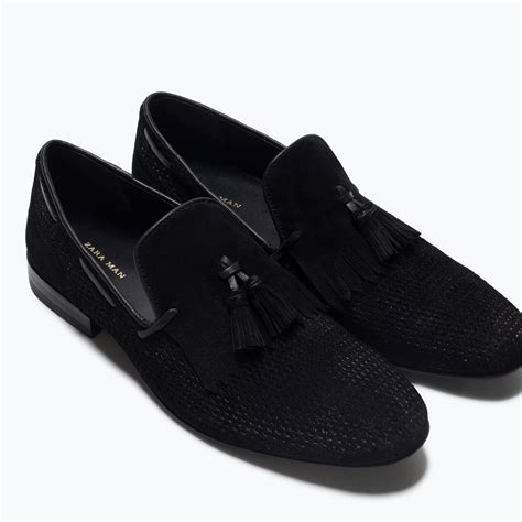 black loafers for zara leather loafers with fringe detail in black for