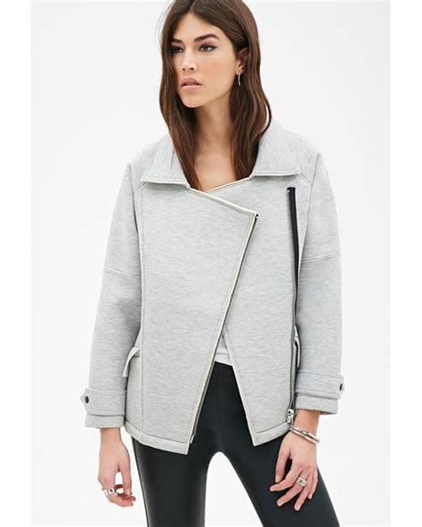 knit moto jacket forever 21 forever 21 scuba knit moto jacket in gray grey save 30