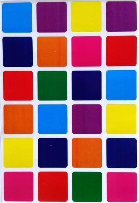 colored labels 1 quot inch square color coding labels 8 colors colored dot