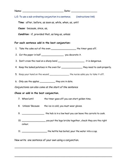 printable worksheets subordinating conjunctions subordinating conjunctions by bethrob teaching resources