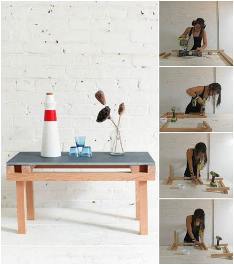 wooden table with tile top 20 easy free plans to build a diy coffee table diy