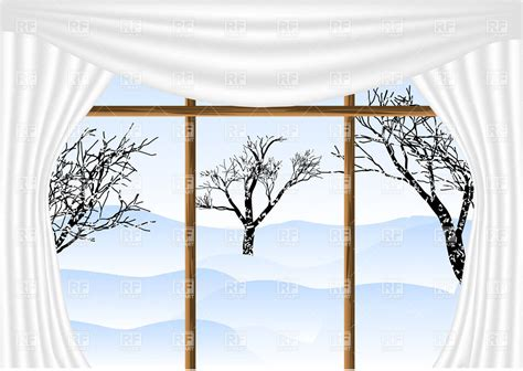 winter window curtains view from window with white curtains with winter view and