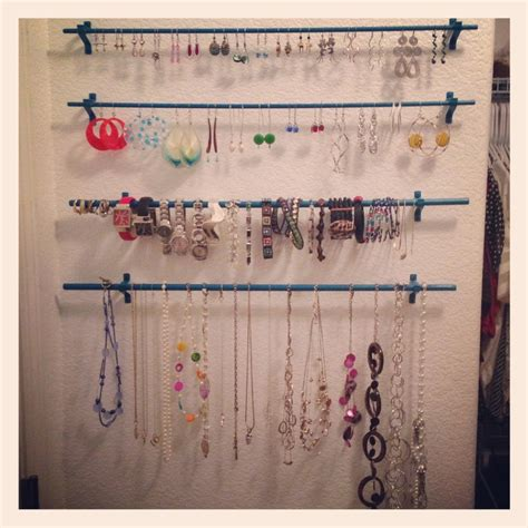jewelry curtains diy jewelry organizer wooden dowels from home depot