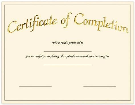 certificate of completion template free printable blank certificates certificate templates