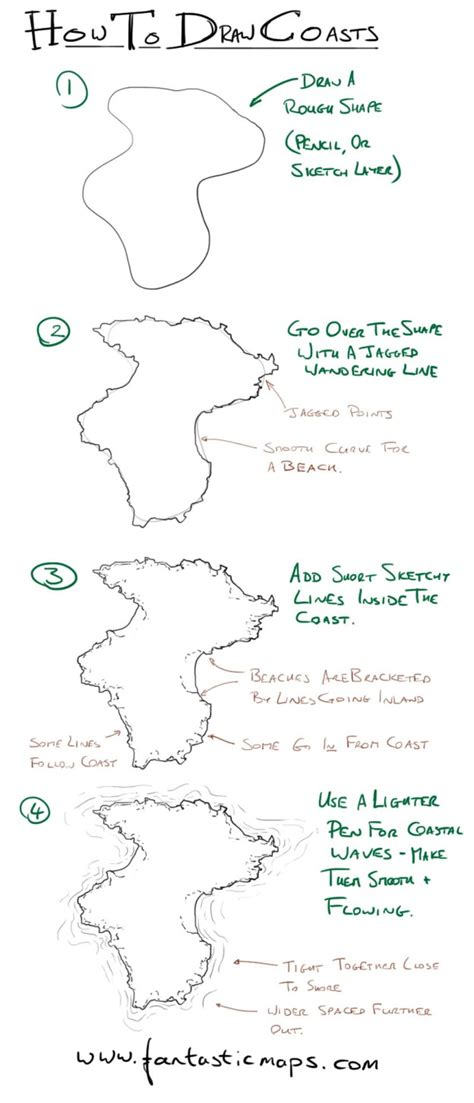 draw a map how to draw coastlines on a map fantastic maps