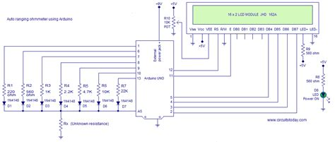 how to measure resistance with arduino ohmmeter circuit using arduino measure resistance in lcd