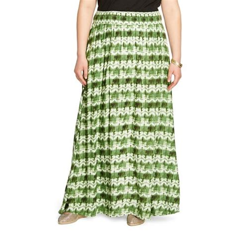 s plus size maxi skirt green print merona