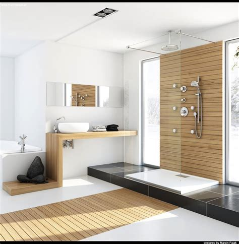 modern bathroom with unfinished wood interior design ideas