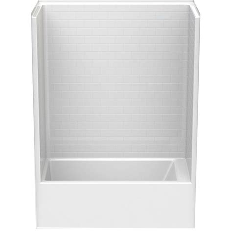 Left Drain Shower Kit by Aquatic Everyday Subway Tile 60 In X 32 In X 80 In Left