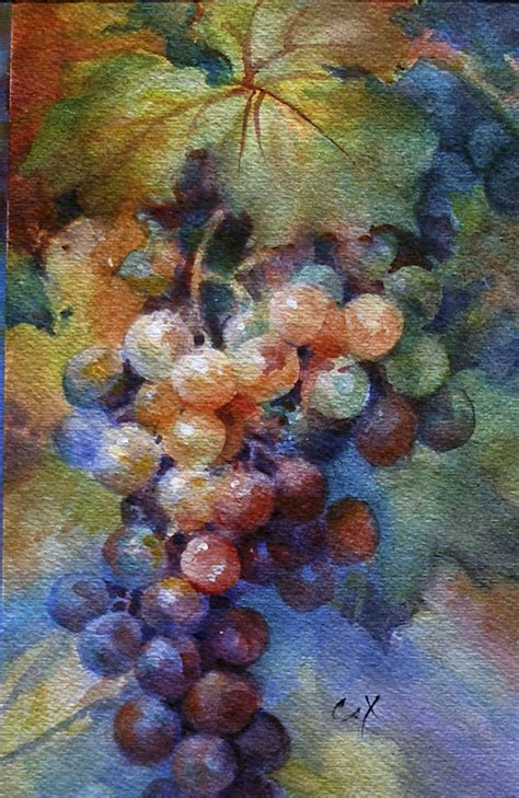 acrylic painting grapes watercolor grapes artchat porcelain plus formerly