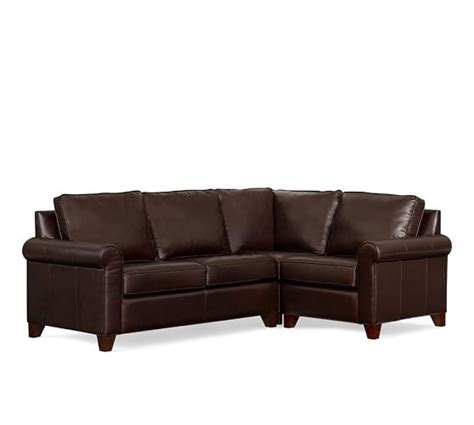 pottery barn cameron sectional cameron roll arm leather 3 piece sectional with corner