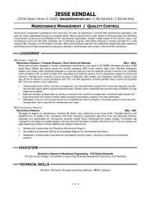 building maintenance engineer resume sle http www