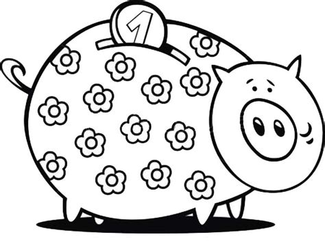 Piggy Bank Coloring Pages For Kids Barriee Piggy Bank Coloring Page