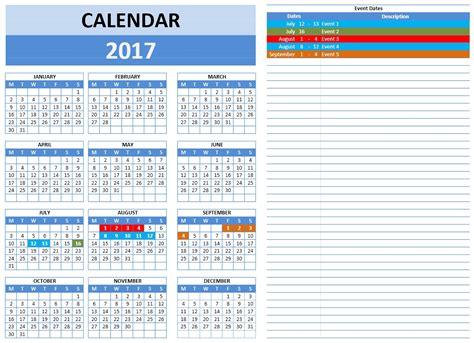 Calendar Template 2017 Year