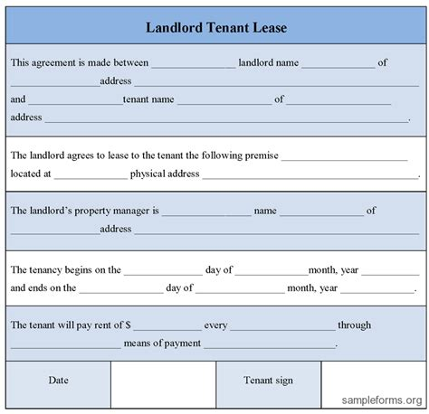 landlord tenant lease form sle landlord tenant lease