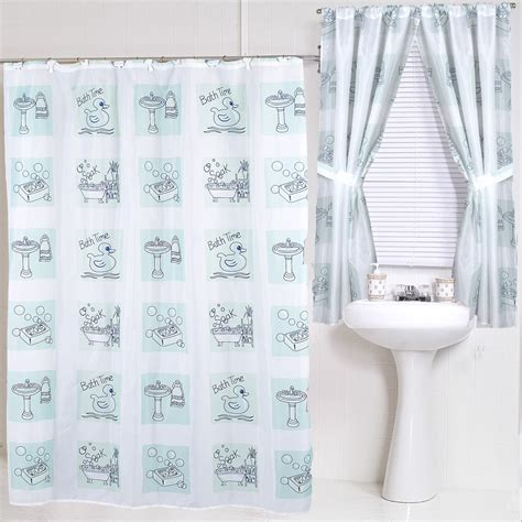 Bath Time Rubber Duck Fabric Shower Curtain Water