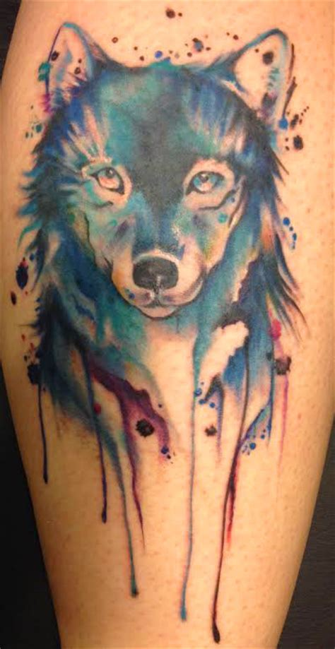 wolf watercolor tattoo water wolf