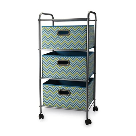 Storage Bin Cart Bintopia 3 Drawer Storage Cart Teal Chevron