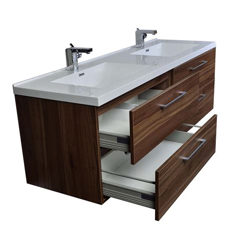 Camino 67 In Modern Double Vanity Set Wall Mount in Walnut Optional Mirror TN A1710 WN