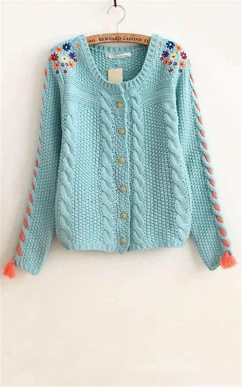 blue patchwork embroidery flowers tassel acrylic cardigan acrylics embroidery and blue