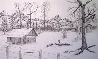 cabin drawings winter cabin drawing by dale yarmuth