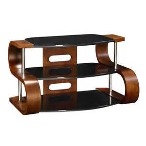 Unusual Dark Wooden Modern Tv Stand 3 Tier Black Glass