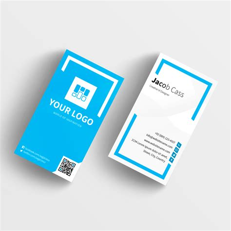 blue corporate business card template with qr code blue business card template 28 images abstract blue