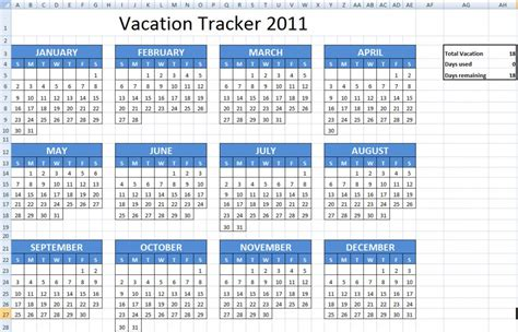 employee vacation calendar excel calendar template 2016