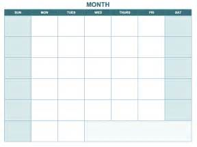 Blank One Month Calendar Template by Free Excel Calendar Templates
