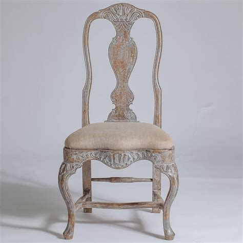 set of six swedish rococo style dining chairs late 19th