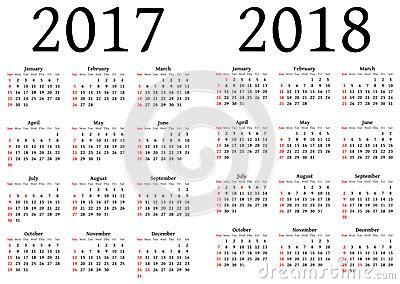 Calendario X Calendario Para 2017 Y 2018 Ilustraci 243 N Vector