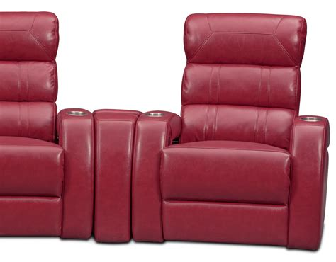 theater sectional reclining sofa bravo 5 piece power reclining home theater sectional red