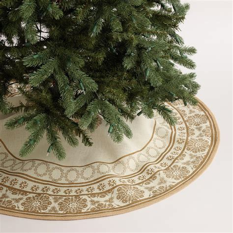 gold tree skirt gold metallic snowflake jute tree skirt world market