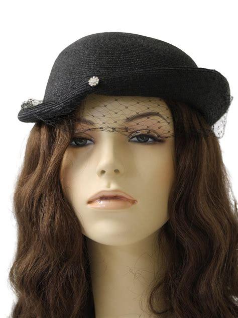 1950s vintage hat 50s no label womens black milan straw