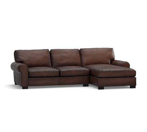 turner leather sectional turner roll arm leather sofa with chaise sectional