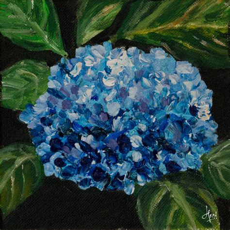 acrylic painting hydrangea from my canvas october 2011