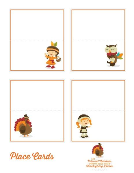Place Cards Template Thanksgiving by Thanksgiving Printables Personal Creations