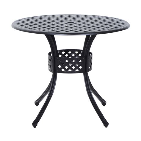 Black Patio Table Outsunny Cast Aluminum Outdoor Dining Table Black Outdoor Living Outdoor