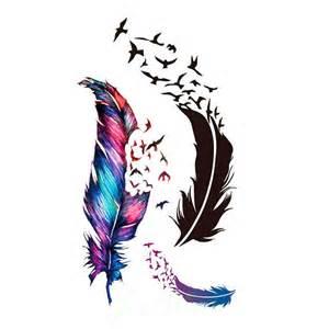 feather turning into birds tattoo design