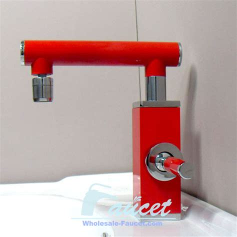 red kitchen faucets single lever red color bathroom faucet