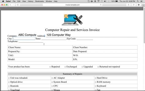 computer repair invoice template computer repair invoice template pdf printable receipt