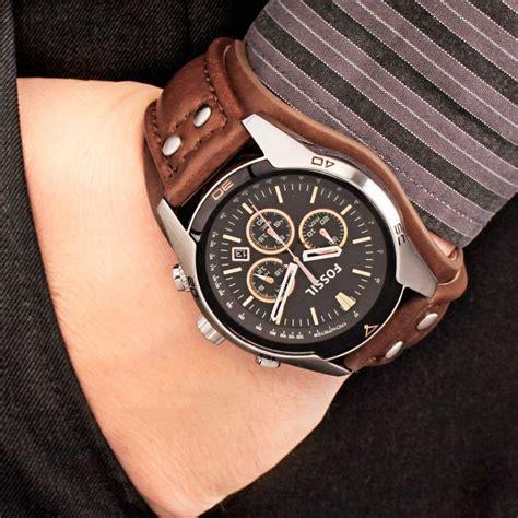 Jam Tangan Pria Fossil Fs5150 Grant Chronograph Brown Leather Wat timemob rel 243 gio fossil couro marrom fundo preto
