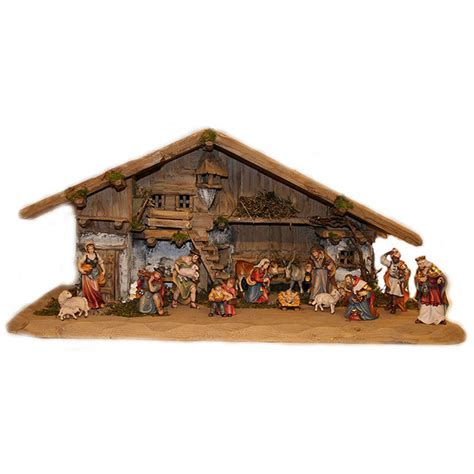 tirolese nativity house with 14 statues h k woodcarving