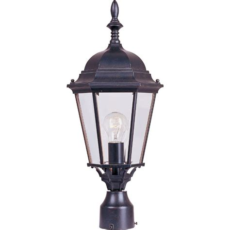 landscape lighting mounting posts maxim lighting westlake 1 light empire bronze outdoor pole post mount 1005eb the home depot